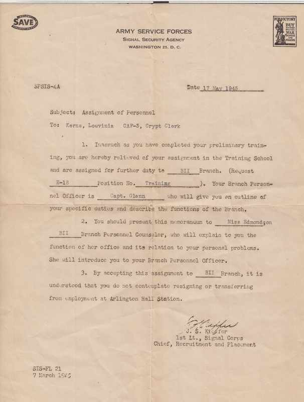 Assignment of personnel letter to Louvinia Jordan, May 17, 1945.
