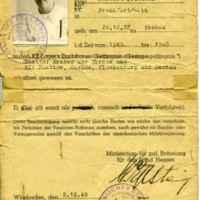I.D. Issued to Survivors of Concentration Camps